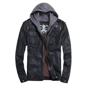 Faux Leather Jacket/Hoodie