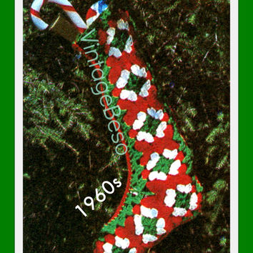 Fast Quick Easy Granny Square Christmas Stocking CROCHET Pattern Vintage 1960s EaSy PdF Pattern INSTANT DOWNLOAD