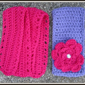 Crochet Baby Headband and Scarf, Child Earwarmer, Purple Ear Warmer and Pink Scarf, Knit, Made to Order, Removable Flower