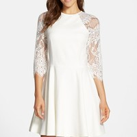Women's BB Dakota 'Yale' Lace Panel Fit & Flare Dress