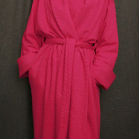 Hot Pink Long Shawl Collar Robe Cotton Dot, Made In The USA, | Simple Pleasures, Inc.