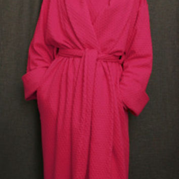 Hot Pink Long Shawl Collar Robe Cotton Dot, Made In The USA,   Simple Pleasures, Inc.