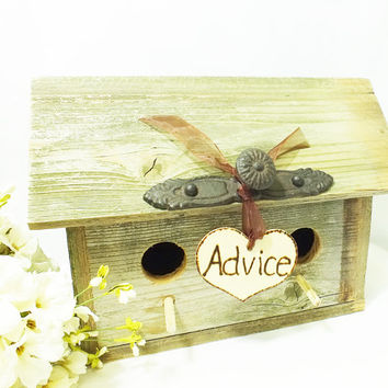 Birdhouse Wedding Advice Box, Adice For The Bride And Groom, Burlap Wedding, Rustic Wedding, Barn Wedding Decor