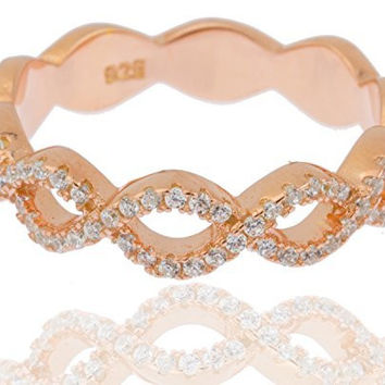 Ladies 925 Sterling Gold Plated Cubic Zirconia Two-tier Braided Ring (7)