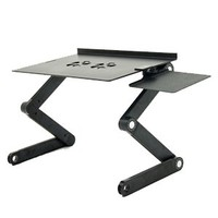 iCraze Adjustable Vented Laptop Table Laptop Computer Desk Portable Bed Tray Book Stand Multifuctional & Ergonomics Design Dual Layer Tabletop (Black)