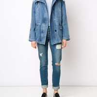 Army Yves Salomon Fur Trimmed Denim Parka - Farfetch
