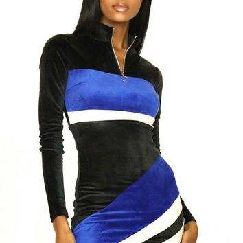 Some Like it Sporty Color Block Velour Mini Dress