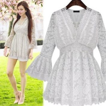 Lace V-Neck Crochet Trumpet Sleeves Dress