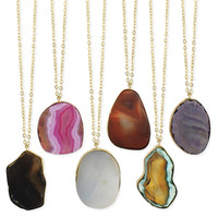Agate Pendant Long Necklace