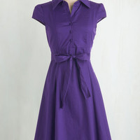 Vintage Inspired Mid-length Cap Sleeves Shirt Dress Soda Fountain Dress in Grape