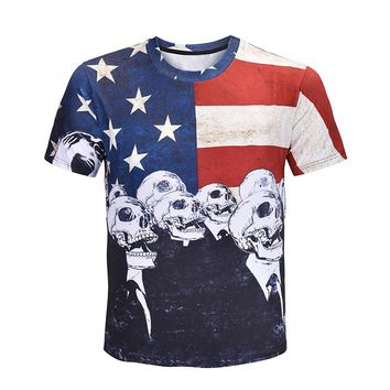 USA Flag Tshirt Men/women Skull Hip Hop T Shirt United States America 3D Death Punk Fitness Gothic T-shirt