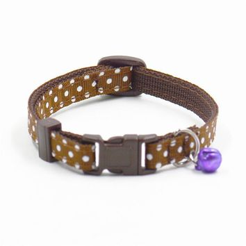 Small Cute dot Pet cat dog collars with Bell multi color puppy kitten strap collar round neck accessory drop ship sale