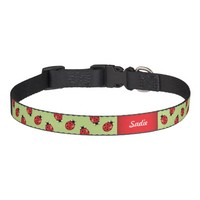 Ladybugs On Green With Custom Dog's Name Pet Collar