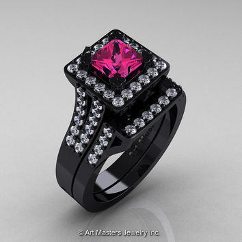 Art Masters French 14K Black Gold 1.0 Ct Princess Pink Sapphire Diamond Engagement Ring Wedding Band Set R215PS-14KBGDPS