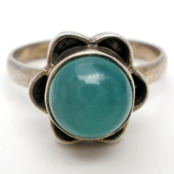 Green Chrysoprase Sterling Silver Ring Vintage Size 8