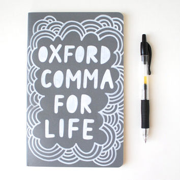 Oxford Comma for Life, Grey Moleskine Journal, Hand Painted Notebook, Lined Pages, Doodle Illustration, Ready to Ship