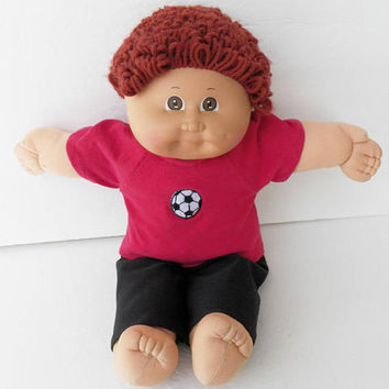 Cabbage Patch KIDS 16 inch BOY Red soccer Ball Raglan t shirt and Black Pants, handmade by adorabledolldesigns, CPKKids16""