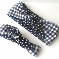 Mommy and Me Pre-tied Head Scarfs Black Gingham over Red Polka Dots Headband for Mommy and Infant Toddler Baby Headband Hair Accessory