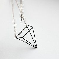 Pyramid Illusion  sterling silver necklace