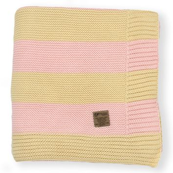 Blush & Almond Stripe Knit Organic Cotton Blanket
