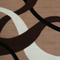 Generations Brand New Contemporary Brown and Beige Modern Wavy Circles Area Rug 5'2 x 7'3