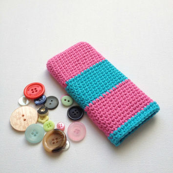 iPhone 5 Sleeve, Pink and Blue Stripe Cell Phone Cosy, Hand Crocheted Mobile Phone Case, Pink Cotton Sleeve. Knit iPhone 4S Sock, Yarn Case