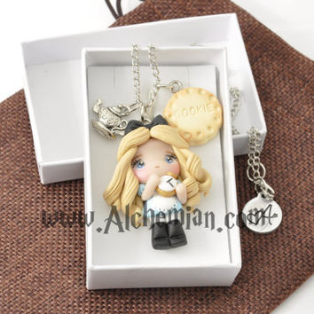 Alice in Wonderland character necklace handmade handmolded in polymer clay