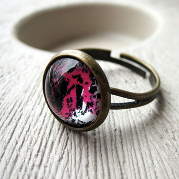 Abstract Pink Brass Ring. Adjustable Band. Costume Jewelry - CANDIE