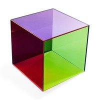 Square Color-Blocked Glass Laminate Side Table by GC & AF