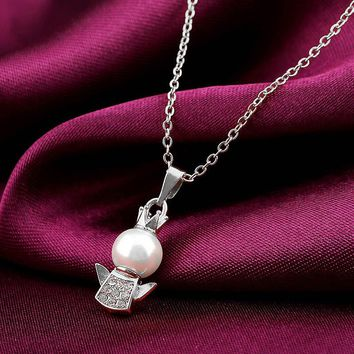Angel Pendant Necklace Pearl With Diamond Chain Accessories Jewelry SV