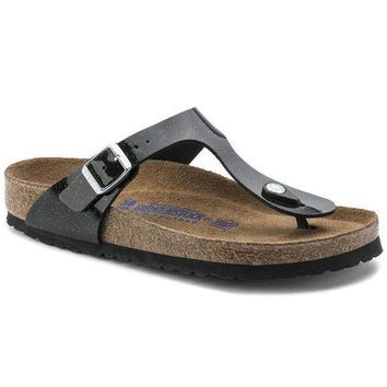 VON3TL Sale Birkenstock Gizeh Soft Footbed Birko Flor Magic Galaxy Black 0847441/0847443 Sandals