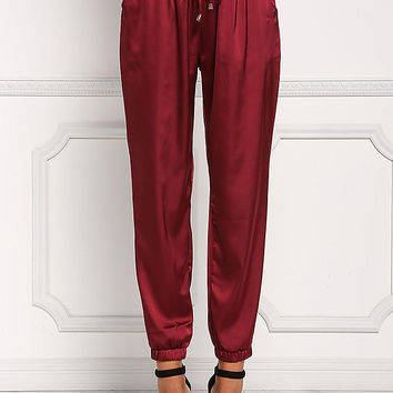Burgundy Silky Drawstring High Rise Jogger Pants