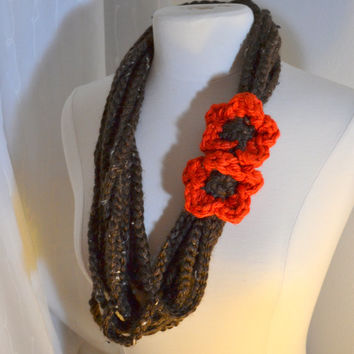 Brown Chain Scarf with Orange Poppy Flower, Crochet Infinity Scarf, Chunky Knit, Skinny Crochet Scarf, Ready to Ship