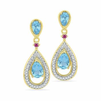 10kt Yellow Gold Women's Oval Lab-Created Blue Topaz Diamond Dangle Earrings 1-5-8 Cttw - FREE Shipping (US/CAN)