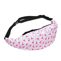 Modern Waist Bag Women Girl female Travel Fanny Pack Bum Red White flamingos Animal Pattem bolso cintura Pouch Zip Fanny H26