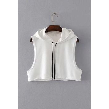 Sleeveless Drawstring Loose Hooded Crop Top Short Hoodie