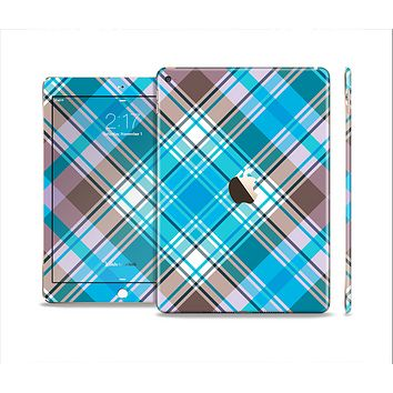 The Gray & Bright Blue Plaid Layered Pattern V5 Skin Set for the Apple iPad Air 2