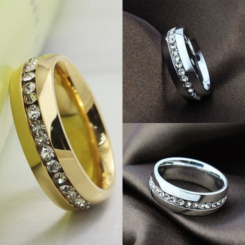 Women's 6mm Width Titanium Stainless Steel Couples Ring Crystal Rhinestone Charm