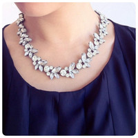 The 'Elizabeth' Crystal Statement Necklace Minimalist necklace Handmade Bib Jewellery