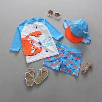 Cute Split Sunscreen Uv Protection Swimsuit For Boys Summer Bathing Suit Cartoon Crab Kids Swimwear With Hat