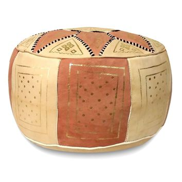 Pink Fez Moroccan Leather Pouf Round Genuine Leather