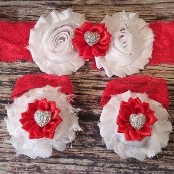 Red and White with silver hearts on red lace Headband and Barefoot Sandal set.