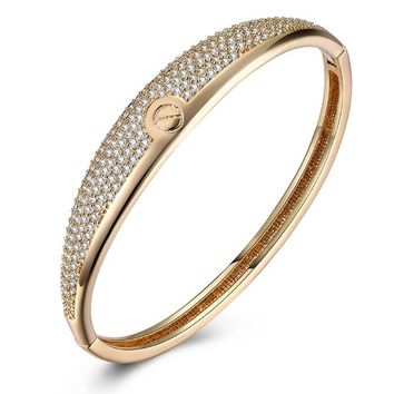 Swarovski Crystal 18K Gold Plated Nail Screw Bangle