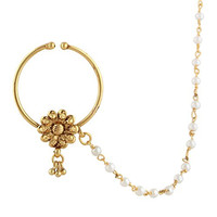 Indian Artisan Bridal Body Jewelry Set Pierced Nath Nose Ring with ChainSANO0008WH