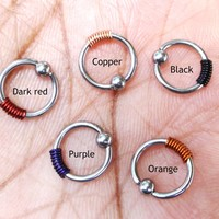 316L Surgical stainless steel wire wrapped captive rings Helix, cartilage, earring 12 colors to choose