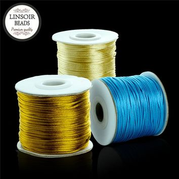 80yards 1.5mm Soft Nylon Satin Rattail Silk Macrame Cord Beading Cords Threading String Kumihimo for Jewelry Making Materials