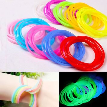Hot new fashion glow in the dark luminous flexible silicone rubber bracelets bracelet Tousheng headdress hair band 10 colors