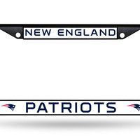 NFL New England Patriots Black Chrome License Plate Frame