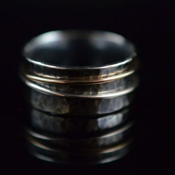 """Sterling Silver & 14k Gold """"spinner"""" Ring with Patina"""