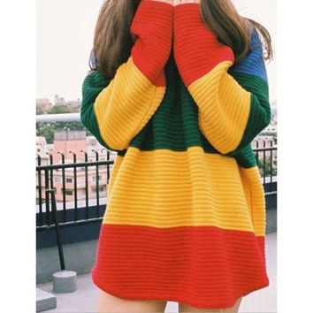 LMNFONH Rainbow striped knit sweater